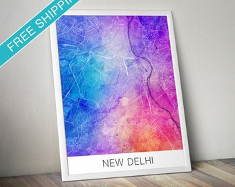 New Delhi Map Print - Map Art Poster with Watercolor Background