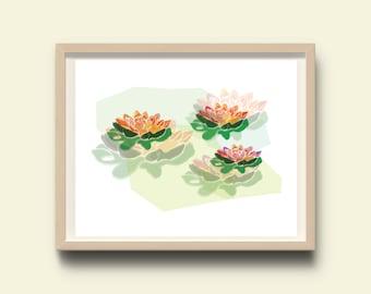 Nature, modern art, flower print, flowers print, wall print, art, botanical print, instant download, colorful wall art, botanical printable