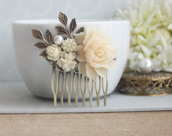 Ivory Flower Bridal Hair Comb Antique Gold Leaf Branch Shades of Ivory Wedding Hair Comb Bridal Hairpiece Vintage Wedding French Country