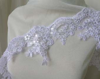 Beaded Sequins Lace Trim In White Alencon Floral Lace Bridal Wedding Lace Trim New Fashion