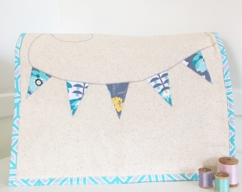 Sewing Machine Cover - Mint Floral Banner