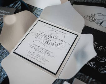 New Years Black and Silver Petalfold Formal Elegant Wedding Invitation with RSVP and Envelope Liner - Color Options Available