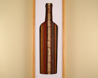 """Wine Bottle - 24"""" by 8"""" Recycled Wood Silhouette Wall Art"""