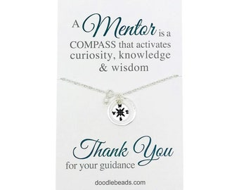 Mentor gift, Tutor Gift, Teacher gift,  Tiny Gold or Silver Compass Necklace, Teacher appreciation gift w/ message, gift for professor