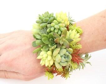 Jungle Nights Succulent Botanical Cuff Bracelet