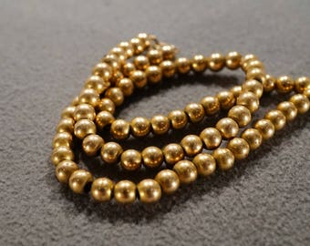 Vintage 14 K Yellow Gold Filled Necklace Chain Multi Round Uniform Size Beads Art Deco Style       #1343