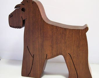 Carved Wood Schnauzer Dog Figurine, Signed Arlene Brand, Great Gift For Dog Lover, Office Home Decor 118