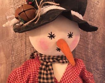Primitive Christmas Folk Art Snowman Farmhouse Country Decor Handmade