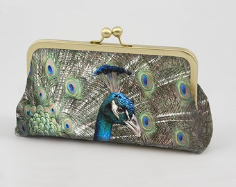 Clutch Bag - Lovely Peacock - Original Photograph Printed on Dupion Silk  - Clutch Bag Lining Can be Personalized with Your Photo or Text