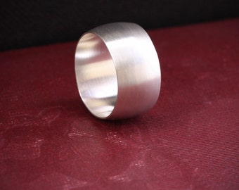 """Wide silver ring, modern, simple and trendy design handmade with a low dome band in your size - """"Silence Ring"""""""