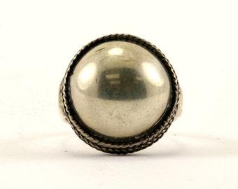 Vintage Mirror Round Design Ring 925 Sterling Silver RG 2922