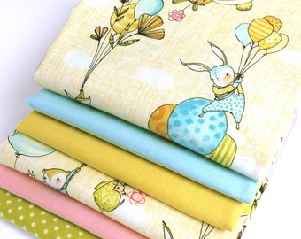 NEW>> FABRIC BUNDLE Fly Away Day - 6 x Fat Quarters of 100% premium cotton