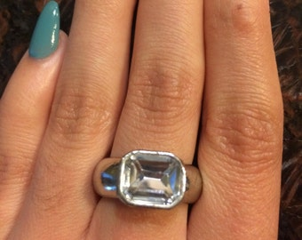 Vintage Clear Stone Ring, Silver Tone Ring, Vintage Rhinestone Ring, Vintage Jewelry