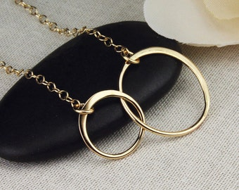 Two circle gold necklace, two circle necklace, two ring gold necklace, two ring necklace, linked circles, joined ring necklace, gold
