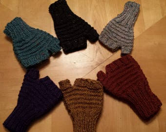 Fingerless gloves, wrist warmers with thumb piece, men's and women's