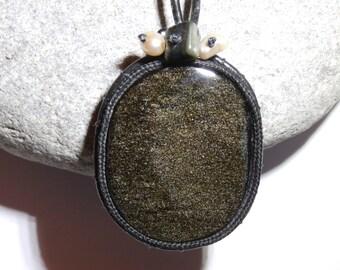 the Mexico Golden black Obsidian necklace