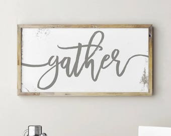 Printable Gather Sign, Kitchen Signs, Kitchen Decor, Kitchen Wall Decor, Dining Room Wall Art, Dining Room Decor, Dining Room Signs