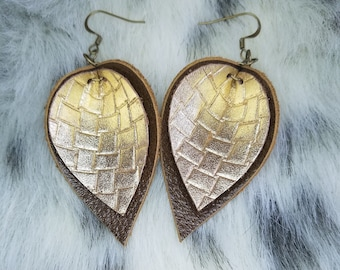 Brown and gold leather leaf earrings