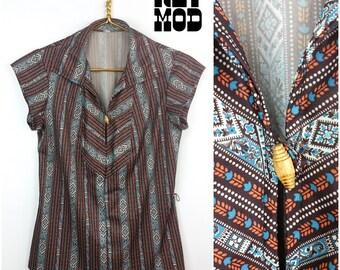 Vintage 70s Southwestern Brown and Blue Stripe Aztec Ethnic Shirt