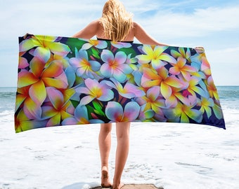 Hawaiian Tropical Plumeria Frangipani Mult-Color Beach Towel