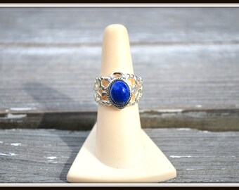 Adjustable Filigree Ring, Lapis Blue Cabochon Ring, Adjustable Fashion Ring, Blue Glass Cabochon Ring, Silver Filigree Ring, Dark Blue Ring