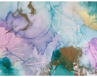 Mermaid Dreams - Abstract Art using Alcohol Ink