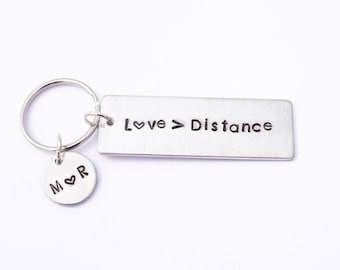 Long distance relationship keychain - Long distance love - Long distance boyfriend gift - Long distance best friend gift - Going away gift -