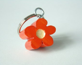 Handmade Orange And White Flower Wooden Keyring