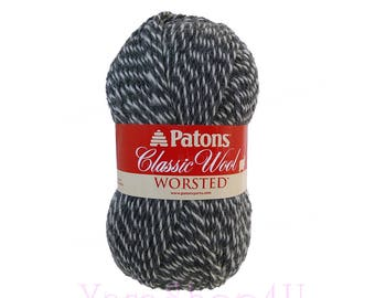 DARK GREY MARL Patons Classic Wool yarn is a dark gray twist yarn. Pure wool yarn is great for felting. worsted weight, 3.5oz 100g, 210yds √