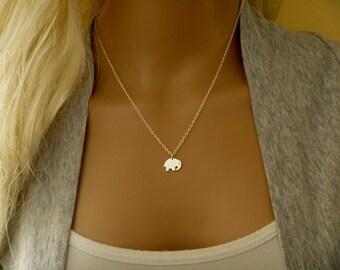 Tiny Elephant Necklace, Personalized Animal jewelry, Silver Elephant with  initial