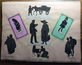 Page from an original 1870s scrapbook with cut-outs of silhouette illustrations - scarce