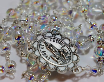 Catholic Swarovski AB Globe Crystal Fatima Rosary in Silver
