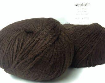 set of 5 balls of yarn: Alpaca/chocolate / made in France