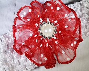 Red and White Polka Dot Flower With Pearl N Swarovski Crystals On A Soft Stretchy White Headband For Babies, Toddlers, And Little Girls