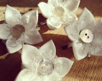First Communion, Linen Flower Hair Clip, communion hair accessory, kids hair accessory, handmade hair clips, hair bobbins
