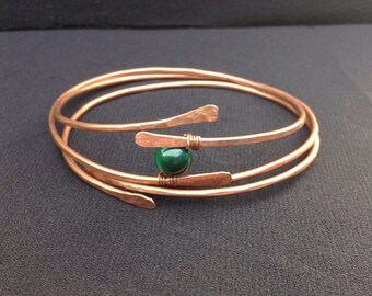 Copper bracelets, Set of 3, gemstone bead copper wire bangle, arthritis healing jewellery, handmade, hammered