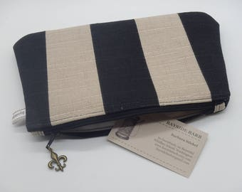 Black & Tan Makeup Bag, French Cosmetic Clutch, Rugby Pouch, Makeup Bag, Zip Pouch, Pencil Case, Wet Sack, Ditty Bag, Makeup Pouch - OOAK