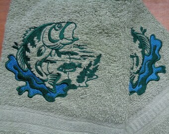 Trout Nature Scene  Embroidered Terry Hand Towels