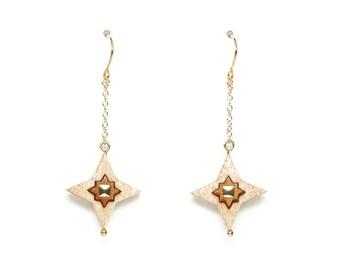 Gold star earrings, White earrings, Gold earrings for women, Wooden earrings, Beaded earrings, Chain earrings, Gold drop earrings gold chain