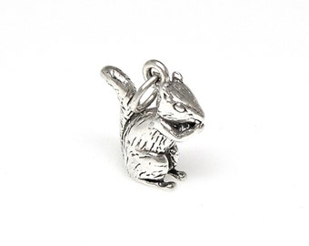 Chipmunk Sterling Silver 3D Charm Pendant Customize no. 2181