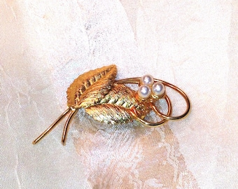 Vintage Gold & Pearl Brooch MidCentury 1950s Estate Jewelry From NorthCoastCottage Jewelry Design And Vintage Treasures