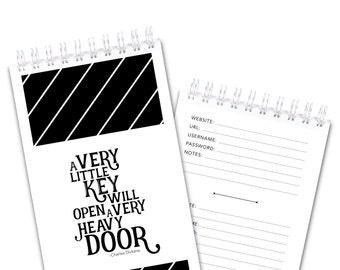 Password Keeper - Diagonal Stripes - A Very Little Key will Open a Very Heavy Door