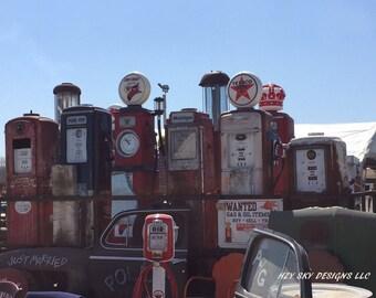 old antique gas pumps photography prints, mancave,petrol