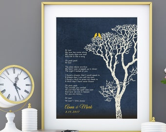 Custom First Dance Song Lyrics or Wedding Vows Love Birds Family Tree First Anniversary Paper Gift 8x10 Custom colors, Fonts Print