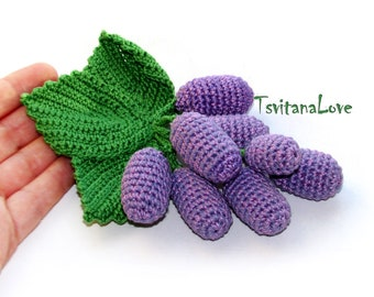 Grapes toy Kitchen Decor (1pc) - crochet bunch of grapes - Stuffed Fruit - Vegan Eco friendly toy - Play food Play kitchen - Pretend play
