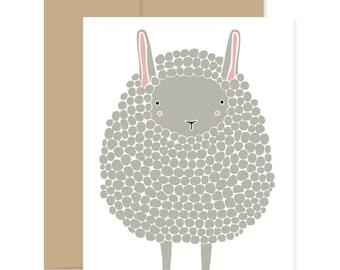 8 Dark Grey Sheep Card, Sheep Greeting Card, Baby Shower Card, Grey Lamb Card, Congratulations Card, Easter Lamb Card, Sheep Greeting Card