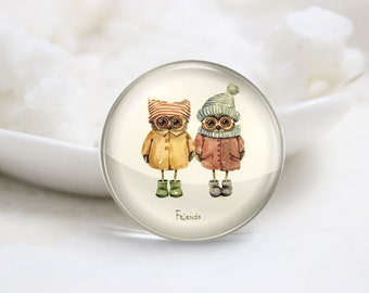 Handmade Round Friends Photo Glass Cabochons (P3491)