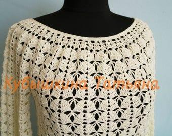 crochet blouse pattern,blouse pdf, blouse tutorial, knitted white blouse,pdf download,crochet women blouse,pullover tutorial, master class