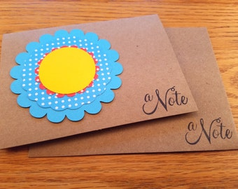 A Note Notecard, Kraftpaper Notecard, Polka Dot Flower, Blue Polka Dot Flower, Handmade Note, Note for Her, Handmade Blank Note, Blank Note