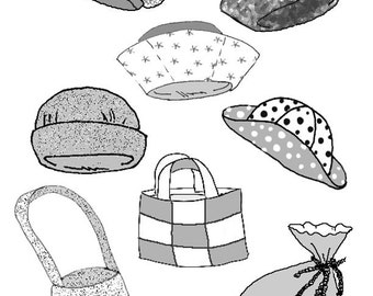 "Hats and Bags PDF for 10"" Ann Estelle/Patsy doll clothes pattern 83511"